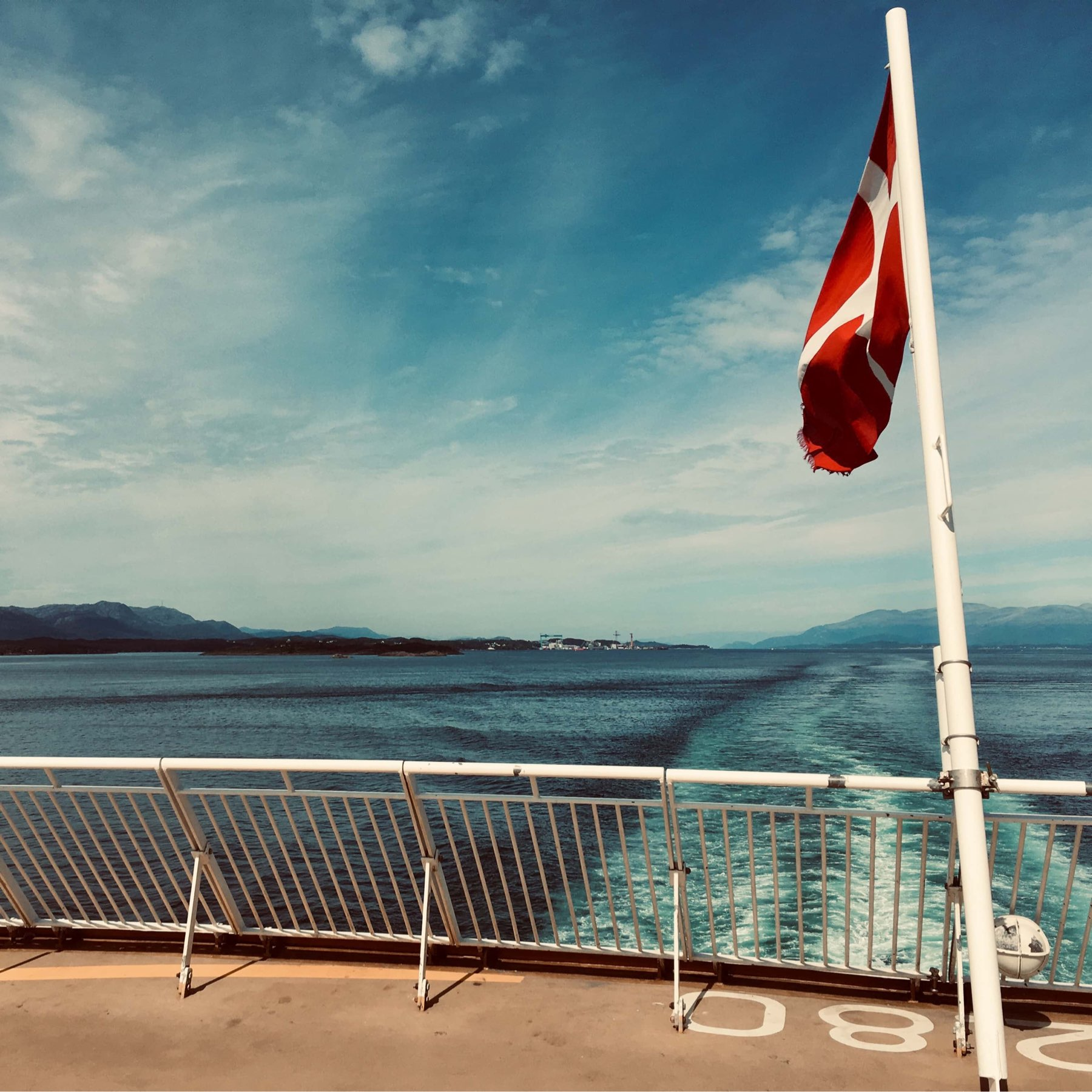 A Danish flag aft on a ferry